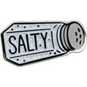 """Salty"" Salt Shaker Enamel Pin"